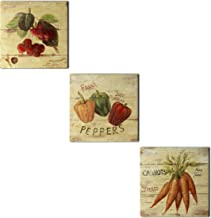 CVHOMEDECO. Primitive Vintage Hand Painted Wooden Frame Wall Hanging 3D Painting Decoration Art, Cherry, Capsicum and Carr...