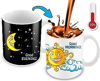 Morphing Morning Coffee Mug. 11 Ounce. Changing Color Mug Ceramic Heat Sensitive Color Changing Coffee Mug. Novelty Heat Sensitive Mug With A Lovely Cartoon Sun And Moon | Great Christmas Gift Idea