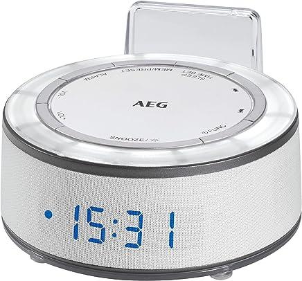 AEG MRC 4151Radiosveglia con display 24ore, AUX-IN, modalità luce con 7tonalità, indicatore di temperatura, memoria 10stazioni, bianco