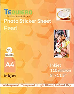 TeQuiero Photo Sticker Sheet Glossy Waterproof Pearl Self Adhesive A4 Size Vinyl Photo Paper (Inkjet) - 25 Sheets