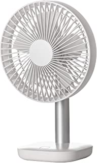 [山善] 扇風機 18cm 卓上扇風機 上下角度調節 風量3段階切替 リズム風 充電式 USB 小型 ホワイト YDS-H15(W) [メーカー保証1年]