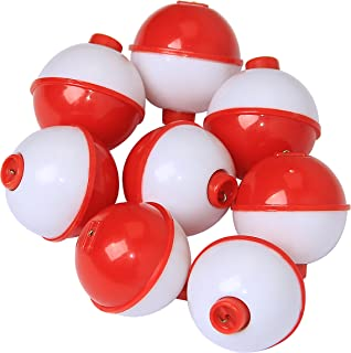 Fishing Bobbers Floats Set Hard ABS on Red/White Float Bobbers Push Button Round Buoy Floats Fishing Tackle Accessories Size: 0.5/0.75/1/1.25/1.5/2 Inch 10pcs-20pcs/lot