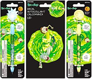 Rick and Morty Pen Set ~ 2 Light-Up Bobble Head Wiggle Pens and Decal Sticker (Rick and Morty Office Supplies, School Supplies, Merchandise for Kids Adults)