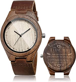 CUCOL Men's Walnut Wood Cowhide Leather Strap Watch Wooden Case Analog Quartz Wristwatch