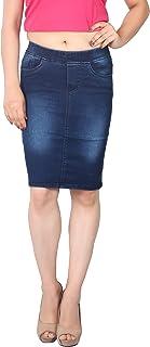 FCK-3 Women's Silky Stretchable Denim Pencil Fit Skirt