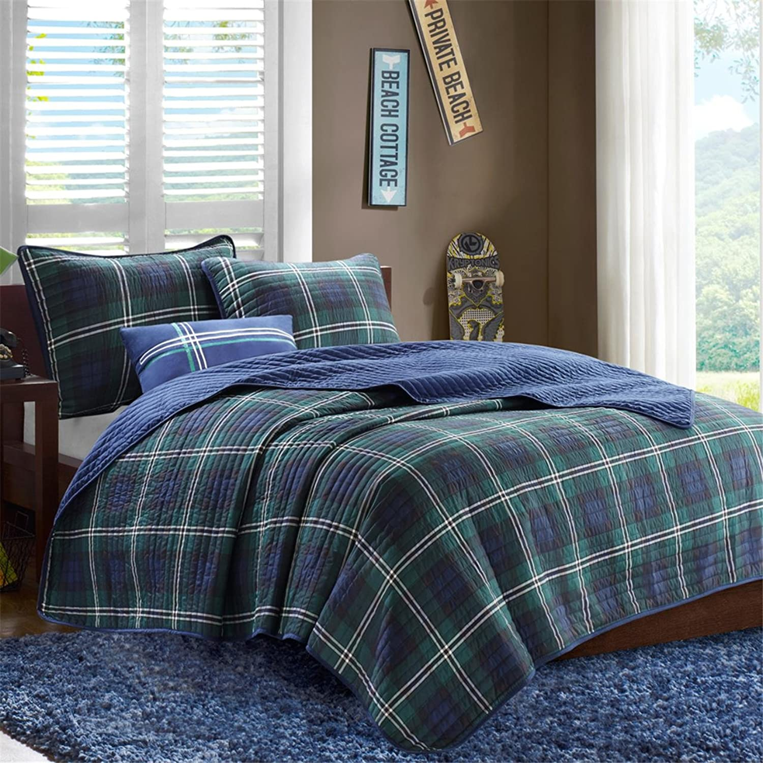 MiZone Brody Full Queen Size Teen Boys Quilt Bedding Set  bluee, Green, Plaid – 4 Piece Boys Bedding Quilt Coverlets – Peach Skin Fabric Bed Quilts Quilted Coverlet