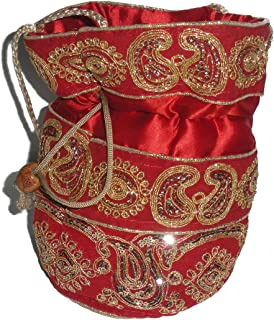 Indian Ethnic Kutch ZARI Work Tapestry Elegance Woman's POTALI RED Bag OR Purse