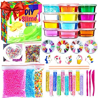 Slime Kit for Girls Boys,Slime for Kids Unicorn Sime Kit-12 Slime,10 Slime Glitters,4 Slime Charms,DIY Clear Kid Slime for...