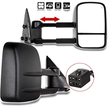 OCPTY Pair Set Power Adjusted Heated View Towing Mirrors for 99 00 01 02 for Chevy for GMC Silverado Sierra, for Chevy for GMC Suburban Tahoe Yukon XL Yukon Black Tow Mirror