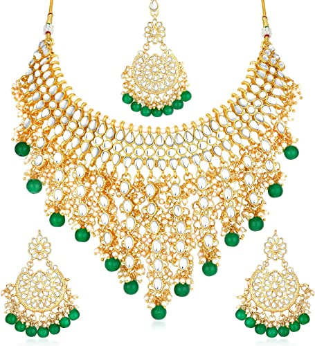 Lavish Pearl Gold Plated Wedding Jewellery Kundan Choker Necklace Set for Women N73509