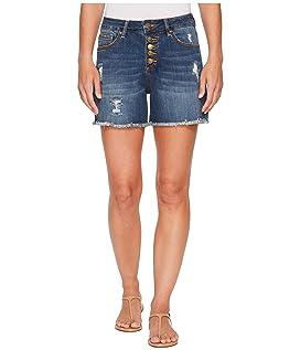 Jules High-Rise Cut Off Denim Shorts in Thorne Blue