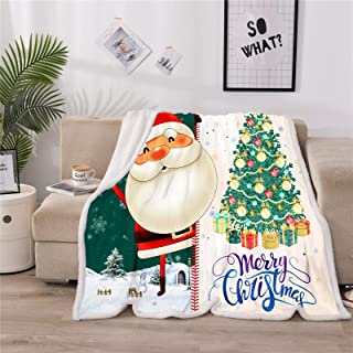 Meeting Story Velvet Touch Ultra Plush Christmas Tree Santa Claus Holiday Printed Fleece Soft Blankets Microfiber Throw Blanket (Green, Twin(60x80 Inch))