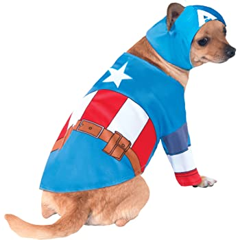 Amazon Com Rubie S Marvel Universe Captain America Pet Costume Small Pet Supplies Captain marvel miniature by atomic mass games for marvel: marvel universe captain america pet costume