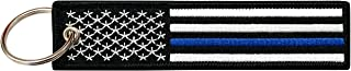 Flag Keychain Tag with Key Ring, EDC for Motorcycles, Scooters, Cars and Gifts USA (Thin Blue Line)