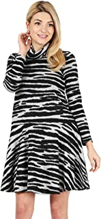 Womens Long Sleeve Winter Cowl Neck Sweater Dress Reg and Plus Size- Made in USA