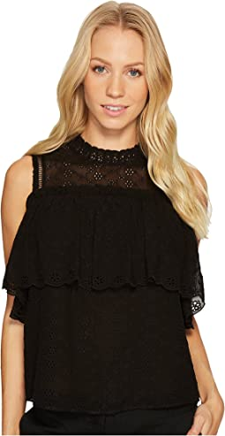 Short Sleeve Open Shoulder Eyelet Top