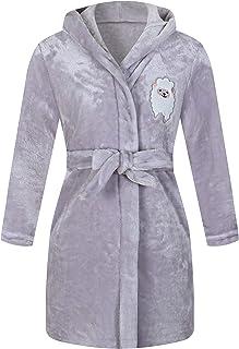 ALHAVONE Girls Kids Warm Fleece Robe Cute Hooded Bathrobe Cozy Sleepwear