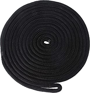 Docking Lines Double Braided Nylon Black Docking Lines 5/8 Inch 25 FT, 50 FT Mooring Rope with 12
