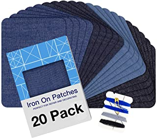"Iron on Patches for Clothing Repair 20PCS, Denim Patches for Jeans Kit 3"" by 4-1/4"", 4 Shades of Blue Iron On Jean Patches for Inside Jeans & Clothing Repair"