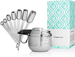 Morgenhaan Stainless Steel Measuring Cups and Spoons, Measuring Set of 13 Pieces: 7 Stackable Spoons and 6 Nesting Cups