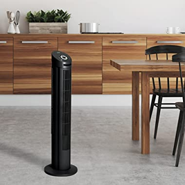 Seville Classics UltraSlimline 40 in. Oscillating Home Office Use Quiet Cooling, 4-Speed, Black