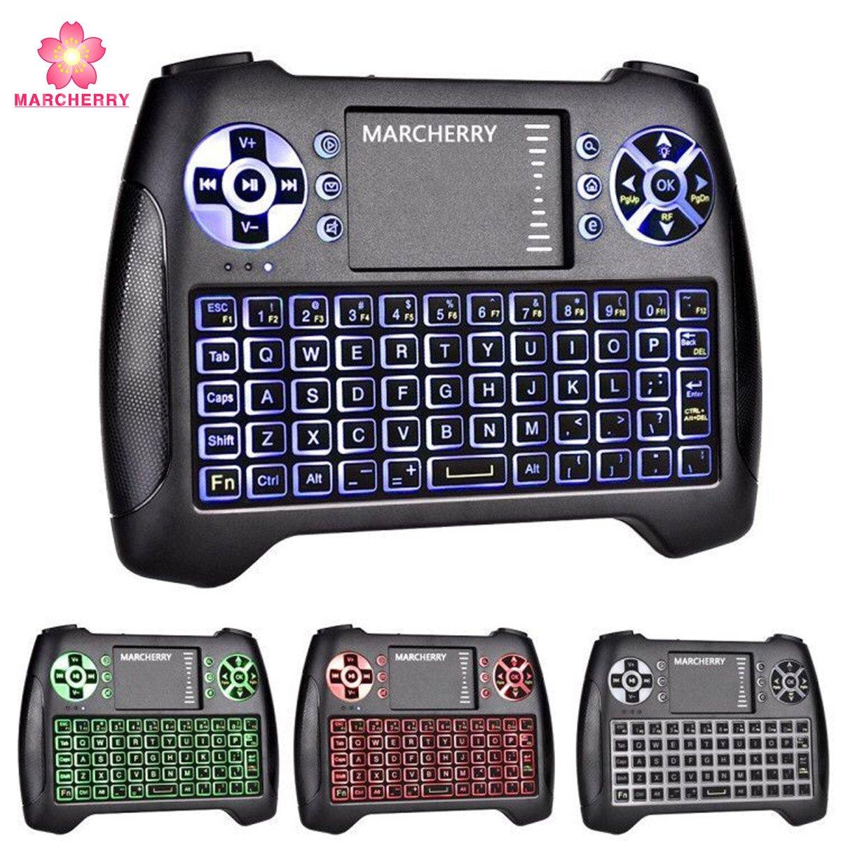 Mini teclado inalámbrico, marcherry teclado de juegos retroiluninadas a 2,4 GHz de 3 colores con