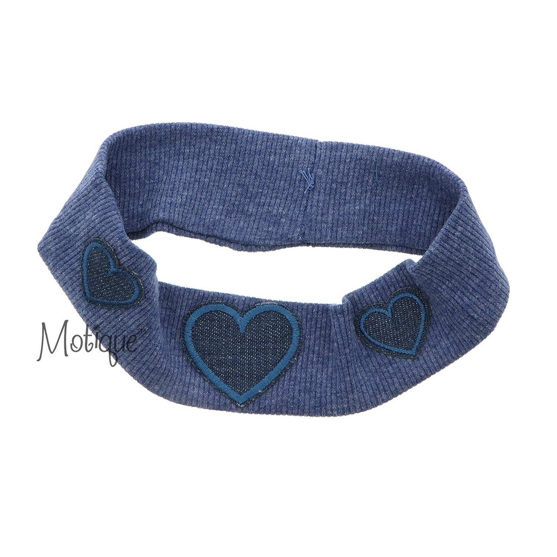 Ribbed Baby Headband with Three Hearts - Denim Blue