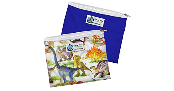 2-Pack Dino Mite//Blue Poly Planet Wise Reusable Zipper Sandwich Bags