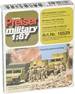 Preiser 16529 Military Modern US Unpainted Figures Standing Infantry Package(16) HO Scale Military Model Figure