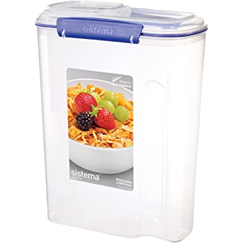 Sistema KLIP IT Utility Collection Cereal Container, 17.75 Cup, Clear/Blue | BPA Free