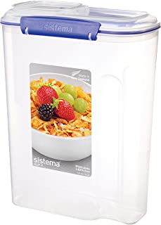 Sistema KLIP IT Utility Collection Cereal Container, 17.75 Cup, Clear/Blue   BPA Free