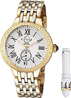 GV2 by Gevril Astor Womens Diamond Swiss Quartz Two Tone Stainless Steel Bracelet Watch, (Model: 9105)