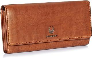 DONBOLSO Geldbörse Florenz I Portemonnaie aus echtem Nappaleder für Damen I XXL-Geldbeutel mit 15 Kartenfächern und RFID-Schutz I Cognac