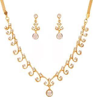 Touchstone Hollywood Glamour white Austrian crystals grand jewelry necklace set in gold tone for women