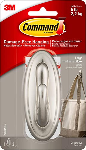 3M Company 17053BN-ES Command Brushed Nickel Traditional Large Hook