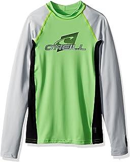 O'Neill Youth Premium Skins Upf 50+ Long Sleeve Rash Guard, Day glo/Black/Grey, 8