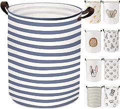 Laundry Basket ULG Large Storage Basket Canvas Fabric 21.65 Inch Collapsible Laundry Hamper Round Waterproof PE Coating Nu...