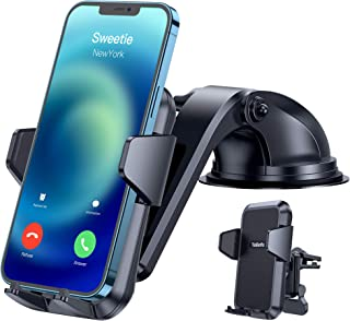【Ultra-Durable】 Phone Holder for Car,【Non Block Safe Driving View】 4 in 1 Phone Car Holder for Dash/Windshield/AC Vent/Desk fit with iPhone 12/12 Pro Max/12 Mini/11 Pro/XS/8/7, Samsung S10/S9 etc