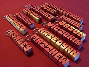 Hand carved personalized wooden keychain - wood letters - customized desk name - fob- custom gift with your name or word