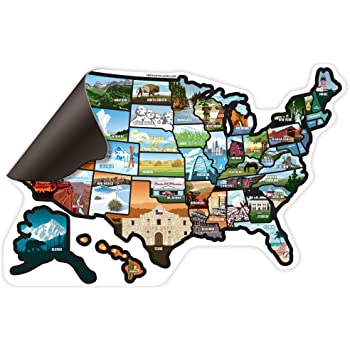 Magnetic Us Map For Rv Amazon.com: RV State MagUnited States  Travel Camper Map RV