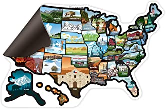 SEE MANY PLACES .com RV State Magnet United States Travel Camper Map RV Includes 50 State Decal Stickers with Scenic Illustrations 21