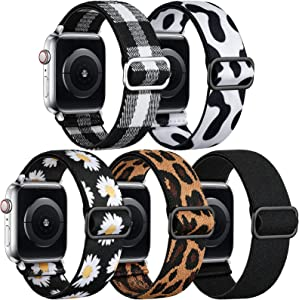 Easuny Stretchy Boho Bands Compatible with Apple Watch Band 41mm 40mm 38mm Women Girls - Adjustable Elastic Nylon Strap Solo Loop Replacement Wristband for iWatch SE Series 7 6 5 4 3 2 1, 5 Pack