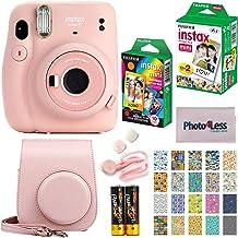 Fujifilm Instax Mini 11 Instant Camera + Fujifilm Instax Mini Twin Pack Instant Film (16437396) + Single Pack Rainbow Film + Case + Travel Stickers (Blush Pink)