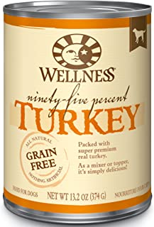 Wellness 95% Natural Wet Grain Free Canned Dog Food, 13.2-Ounce Can (Pack Of 12)