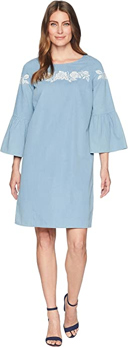 Chambray Bell Sleeve Dress w/ Embroidery