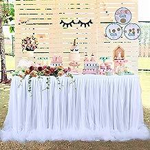 ?Versión de actualización?Falda de mesa Falda de tul de mesa Tul de tutú largo Elegante nylon de mesa de tela , para fiestas, bodas, decoración y Baby Shower (Blanco)
