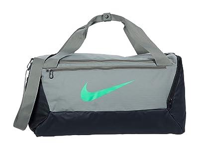 Nike Brasilia Small Duffel 9.0 (Dark Stucco/Dark Stucco/Green Spark) Bags