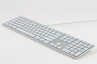 Matias FK318LS DE Aluminum Wired Tastatur mit RGB Hintergrundbeleuchtung USB Keyboard für Apple Mac OS | QWERTZ | Deutsch | mit flachen Tasten und zusätzlichem Ziffernblock   Silber Weiss