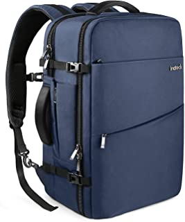 Inateck Travel Carry on Luggage Flight Approved Backpack with Rain Cover Black Blue Blue 30L(15.6 inch Laptop Compartment)