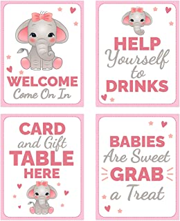 Pink Elephant Baby Shower Table Decorations Signs - Centerpiece Decor Supplies for Girls